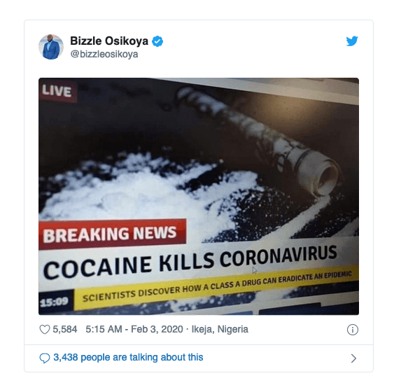 Coronavirus Cannot be Cured by Drinking Bleach or Snorting Cocaine, Despite Social Media Rumors